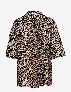 Printed Cotton Poplin - kortärmade skjortor - leopard