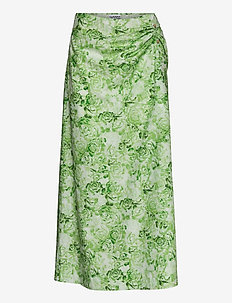 Printed Cotton Poplin - midinederdele - island green