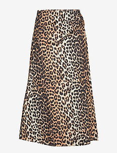 Printed Cotton Poplin - midi skirts - leopard