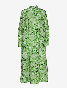 Printed Cotton Poplin - midi dresses - island green