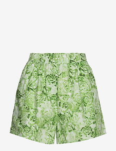 Printed Cotton Poplin - casual shortsit - island green