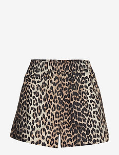 Printed Cotton Poplin - casual shorts - leopard