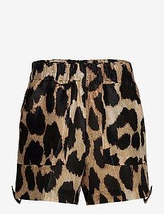 Silk Linen - casual shorts - maxi leopard