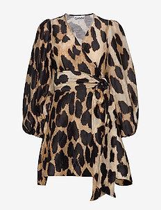 Silk Linen - slå-om-kjoler - maxi leopard