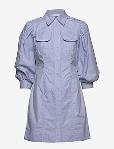 Stripe Cotton - shirt dresses - brunnera blue