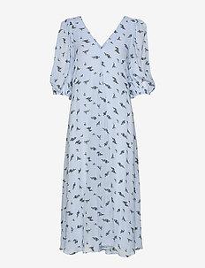 Printed Georgette - midi kjoler - brunnera blue