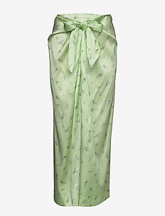 Silk Stretch Satin - maxi skirts - patina green