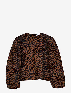 Printed Cotton Poplin - blouses à manches longues - toffee