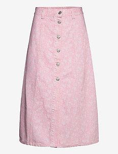 Print Denim - midi skirts - cherry blossom