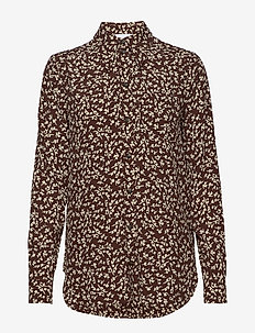 Printed Crepe - long-sleeved shirts - decadent chocolate
