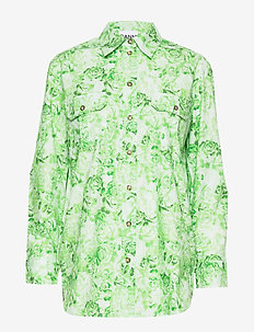 Printed Cotton Poplin - long-sleeved shirts - island green