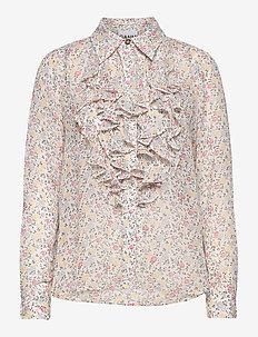 Printed Georgette - langermede bluser - egret