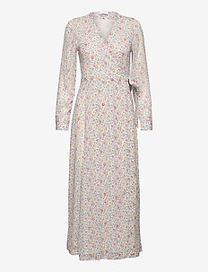 Printed Georgette - wrap dresses - egret