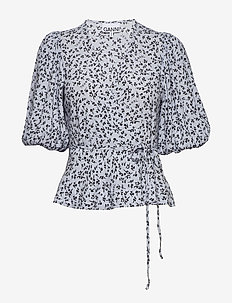 Printed Crepe - short-sleeved blouses - heather