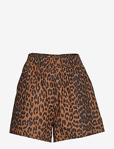 Printed Cotton Poplin - casual shorts - toffee