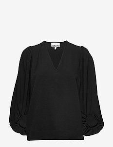 Heavy Crepe - long sleeved blouses - black