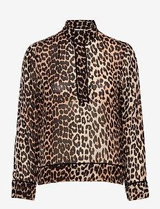 Printed Georgette - langärmlige hemden - leopard
