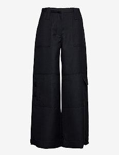 Wool Suiting - bukser med brede ben - sky captain