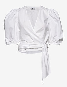 Wrap Blouse - kortærmede bluser - bright white