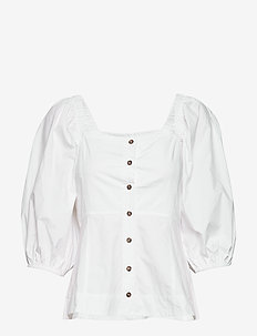Puff Sleeve Shirt - long sleeved blouses - bright white