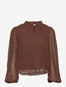 Pleated Georgette - blouses med lange mouwen - chicory coffee