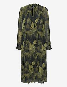 Pleated Georgette - midi kjoler - olive drab
