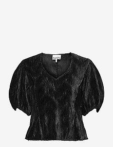 Pleated Satin - kortærmede bluser - black