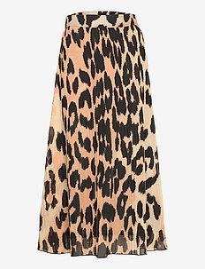 Pleated Georgette - midi nederdele - maxi leopard