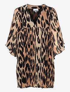 Pleated Georgette - party dresses - maxi leopard