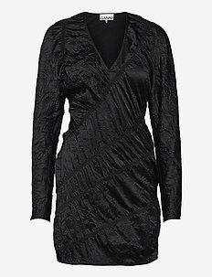 Crinkled Satin - cocktail-kjoler - black