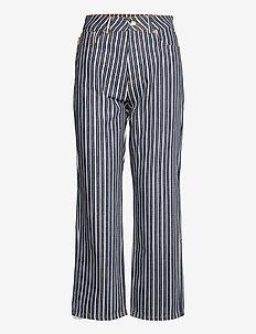 Mixed Stripe Denim - boyfriend jeans - dark indigo