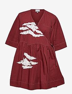 Embellished Cotton - slå-om-kjoler - madder brown