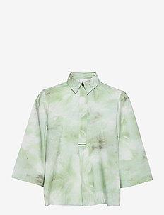 Printed Cotton Poplin - chemises en jeans - kelly green