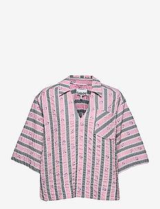 Cotton Seersucker - kortærmede bluser - pink nectar