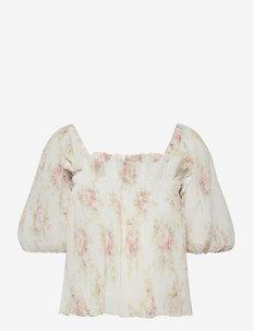 Pleated Georgette - blouses met korte mouwen - egret