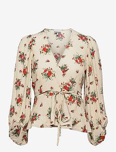 Printed Crepe - long sleeved blouses - tapioca