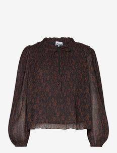 Pleated Georgette - blouses met lange mouwen - french roast