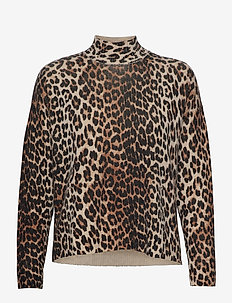 Print Knit - turtlenecks - leopard