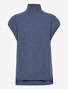 Rib Knit - stickade västar - dutch blue
