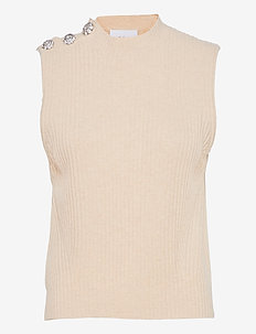 Wool Mix Knit - knitted vests - brazilian sand