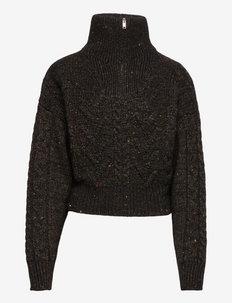 Cable Knit - turtlenecks - black