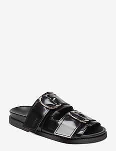 Leather Flats - BLACK