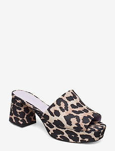 Plateau - högklackade sandaler - leopard