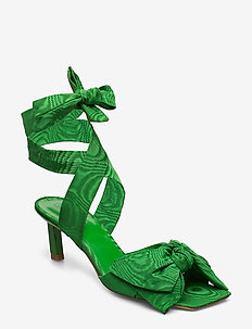 Heeled Bow Sandals - heeled sandals - island green