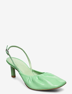 Ruffled Pumps - sling backs - patina green