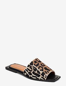 Slipper Sandals - platte sandalen - leopard