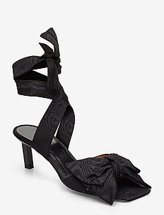 Heeled Bow Sandals - heeled sandals - black