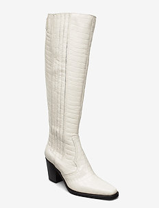 Western Knee High Boot Belly Croc - langskaftede - egret