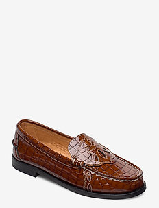 Moccasin Belly Croc - loafers - toffee
