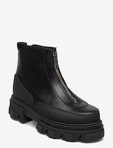 Zipper Boot - tasapohjaiset nilkkurit - black